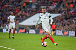 LONDON, ENGLAND - Sunday, March 26, 2017: England's Jamie Vardy in action against Lithuania during the 2018 FIFA World Cup Qualifying Group F match at Wembley Stadium. (Pic by Xiaoxuan Lin/Propaganda)
