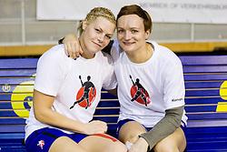 Ana Petrinja and Katja Cerenjak during practice session of Slovenian Women handball National Team three days before match against Serbia, on October 24, 2013 in Arena Tivoli, Ljubljana, Slovenia. (Photo by Vid Ponikvar / Sportida)