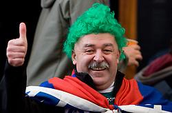 Slovenian fans celebrate in the Bratislava's streets before FIFA World Cup Qualifications match between Slovakia and Slovenia, on October 10, 2009, near Tehelne Pole Stadium, Bratislava, Slovakia.  (Photo by Vid Ponikvar / Sportida)