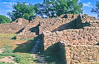 Stone walls of Aztec Ruins, built by the Anasazi people.  Aztec Ruins National Monument.  New Mexico, USA.