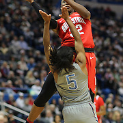 HARTFORD, CONNECTICUT- DECEMBER 19: Shayla Cooper #32 of the Ohio State Buckeyes commits an offensive foul on Crystal Dangerfield #5 of the Connecticut Huskies as she drives to the basket during the UConn Huskies Vs Ohio State Buckeyes, NCAA Women's Basketball game on December 19th, 2016 at the XL Center, Hartford, Connecticut (Photo by Tim Clayton/Corbis via Getty Images)
