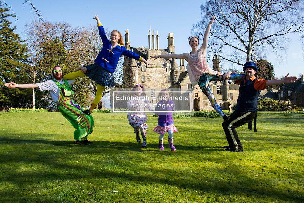 Pictured: RobThorburn (hat), Will Borrell, Alyssa Brough (blue jacket) and Kate McWilliam entertained Lily Donald (4 and floral hairband) and Isla Sutherland (4 bow headband) with their skills.<br /> <br /> The Festival of Museums launch featured performers, RobThorburn (hat), Will Borrell, Alyssa Brough (blue jacket) and Kate McWilliam from Circus Alba showcasing their skills.<br /> <br /> Ger Harley   EEm 30 March 2016