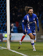 Gillingham's top goal scorer Bradley Dack celebrates his goal during the Sky Bet League 1 match between Gillingham and Barnsley at the MEMS Priestfield Stadium, Gillingham, England on 13 February 2016. Photo by Andy Walter.