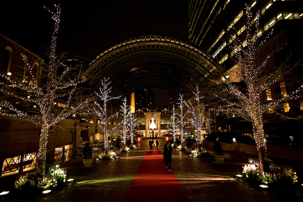 Christmas lights in Tokyo's Ebisu Garden Office and shopping complex featuring a 9 meter high Crystal chandelier made Baccarat  Crystals
