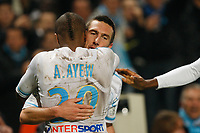 FOOTBALL - FRENCH CHAMPIONSHIP 2011/2012 - L1 - OLYMPIQUE MARSEILLE v PARIS SAINT GERMAIN  - 27/11/2011 - PHILIPPE LAURENSON / DPPI - JOY AFTER GOAL MORGAN AMALFITANO (OM)