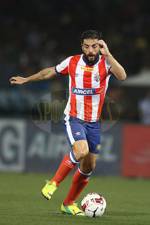 Joffre Mateu Gonzalez of Atletico de Kolkata during match 1 of the Hero Indian Super League between Atletico de Kolkata<br /> and Mumbai City FC held at the Salt Lake Stadium in Kolkata, West Bengal, India on the 12th October 2014.<br /> <br /> Photo by:  Shaun Roy/ HISL/ SPORTZPICS