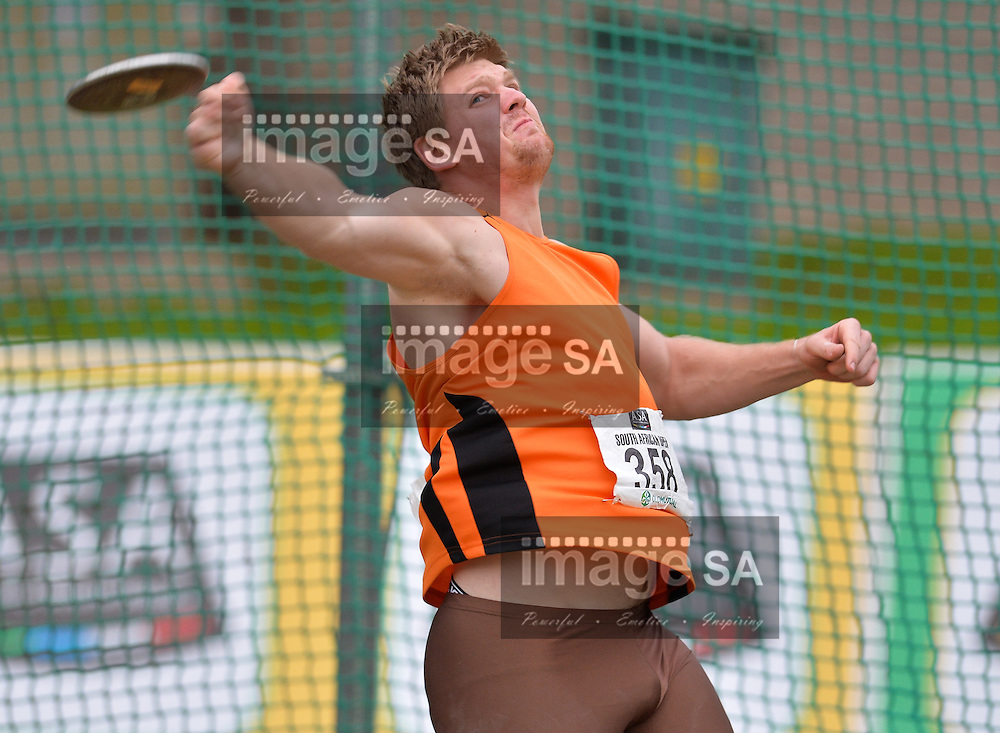 BLOEMFONTEIN, SOUTH AFRICA - MAY 07: Jason van Rooyen in the mens discus during the SA Open Athletic Championships at Mangaung Stadium on May 07 2016 in Bloemfontein, South Africa. (Photo by Roger Sedres/Gallo Images)