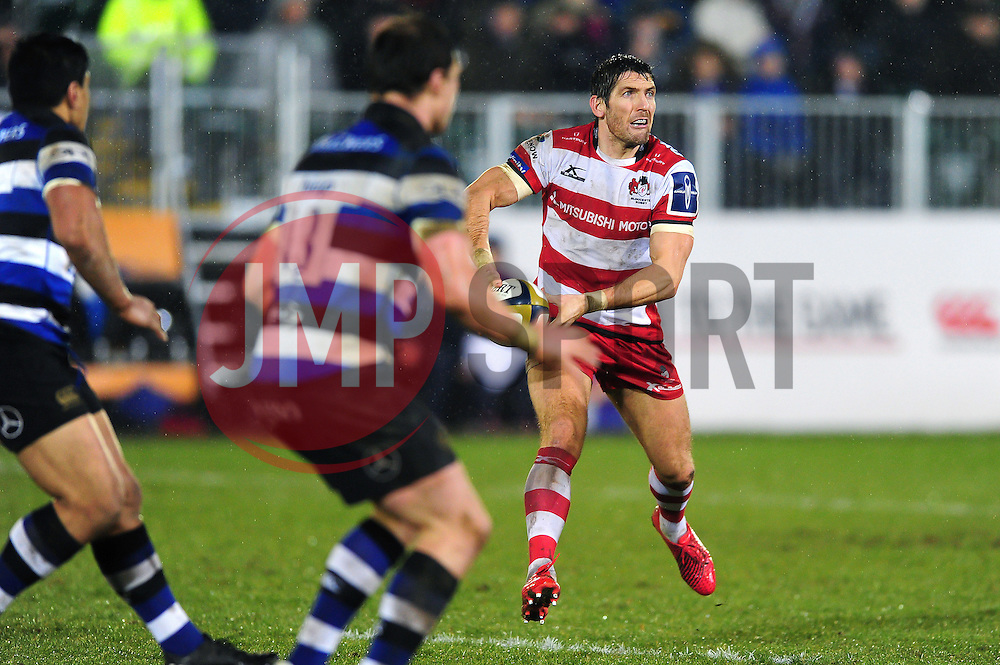 James Hook of Gloucester Rugby looks to pass the ball - Mandatory byline: Patrick Khachfe/JMP - 07966 386802 - 27/01/2017 - RUGBY UNION - The Recreation Ground - Bath, England - Bath Rugby v Gloucester Rugby - Anglo-Welsh Cup.