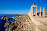 Grece, Dodecanese, Rhodes, Lindos, Acropole // Greece, Dodecanese archipelago, Rhodes island, Lindos Acropolis