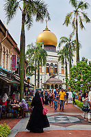 Singapour, quartier de Kampong Glam, la mosquée du Sultan // Singapore, Kampong Glma district, Sultan Mosque