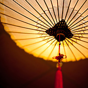 Traditional wax paper umbrella used as a hanging lamp shade at  Jing Zih Ting Oil-paper Umbrella Factory, Meinong Township, Kaohsiung County, Taiwan