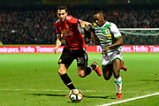 Jordan Green (15) of Yeovil Town battles for possession with Matteo Darmian (36) of Manchester United during the The FA Cup 4th round match between Yeovil Town and Manchester United at Huish Park, Yeovil, England on 26 January 2018. Photo by Graham Hunt.