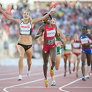 Women's 800 meter-finals, Melissa Bishop-Canada (left) celebrates her gold medal finish with  Alysia Montano (right) placing second, during athletics competition at the 2015 PanAm Games in Toronto.