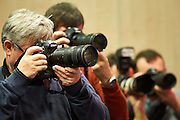 Photographers during press conference of Polish Tennis Association before Fed Cup match at National Stadium in Warsaw, Poland.<br /> <br /> Poland, Warsaw, December 15, 2014<br /> <br /> Picture also available in RAW (NEF) or TIFF format on special request.<br /> <br /> For editorial use only. Any commercial or promotional use requires permission.<br /> <br /> Mandatory credit:<br /> Photo by &copy; Adam Nurkiewicz / Mediasport