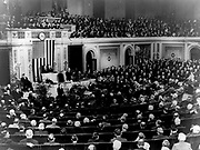 President Herbert Hoover (1874-1964) 30th President of the USA 1929-1933 (Republican) addressing joint session of Congress to celebrate the 200th anniversary of the birth of George Washington, 22 February 1932. America