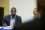 Board President T. Christopher Lewis and Ken Green listen while Prime Prep Academy Superintendent Ron Price speaks during a board meeting at the Prime Prep Academy campus in Fort Worth, Texas on August 4, 2014. (Cooper Neill for The New York Times)