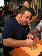 "Bethpage, New York, USA. August 19, 2016. Actor KEVIN JAMES, star of the CBS new sitcom ""Kevin Can Wait"" set to premiere September 2016, is autographing copies of the 1st episode script cover, after filming is done. The Sony Pictures Television Inc show is the first TV series to be shot entirely on Long Island, and is filmed at Gold Coast Studios. James, a Long Island native, portrays character Kevin Gable, a newly retired police officer living in Massapequa with his family."