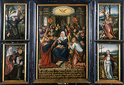 Flemish School, 16th century. Triptych. Central panel shows Holy Spirit at Pentecost. Left panel: Francis of Assisi receiving stigmata and St Elisabeth. Right panel: St Catherine of Alexandria with Emperor Maximus and St Margaret. Private Collection
