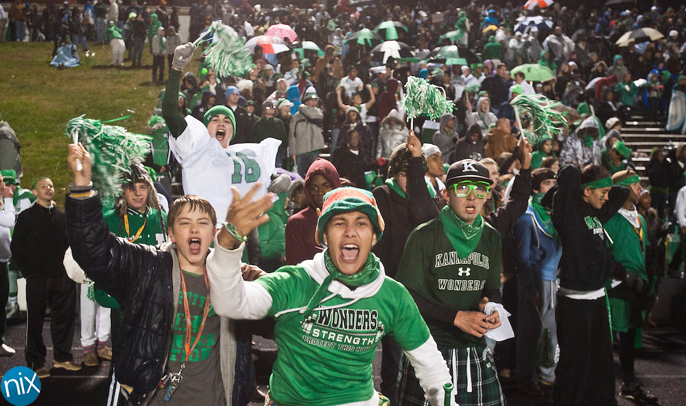 A.L. Brown fans cheer against Concord during the annual Battle of the Bell game at Kannapolis Memorial Stadium Friday night. The wonders held of the Spiders 31-26 to keep the Bell in Kannapolis for another year. (Photo by James Nix)