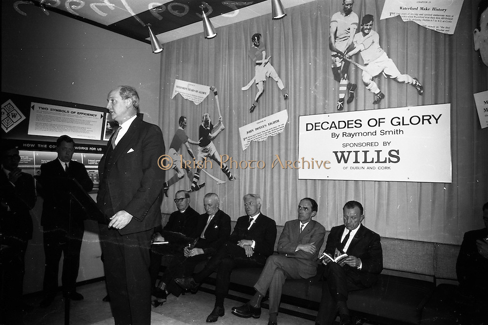 """17/05/1966<br /> 05/17/1966<br /> 17 May 1966<br /> Book reception for """"Decades of Glory: A Comprehensive History of the National Game"""" by Raymond Smith.<br /> This reception was held in the offices of W.D. & H.O. Wills to honour the well known author and journalist, Raymond Smith. His book on the history of Hurling (""""Decades of Glory"""") has just been published with the assistance of Wills of Dublin and Cork and the Central Council of the G.A.A.<br /> Jack Lynch, who was Minister for Finance at the time, speaking at the reception."""