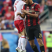 HARRISON, NEW JERSEY- OCTOBER 15: Anton Walkes #26 of Atlanta United and Connor Lade #5 of New York Red Bulls challenge for the ball during the New York Red Bulls Vs Atlanta United FC, MLS regular season match at Red Bull Arena, Harrison, New Jersey on October 15, 2017 in Harrison, New Jersey. (Photo by Tim Clayton/Corbis via Getty Images)