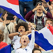 PARIS, FRANCE - September 10:  Young fans waving French flags during team warm up before the France V Andorra, UEFA European Championship 2020 Qualifying match at Stade de France on September 10th 2019 in Paris, France (Photo by Tim Clayton/Corbis via Getty Images)