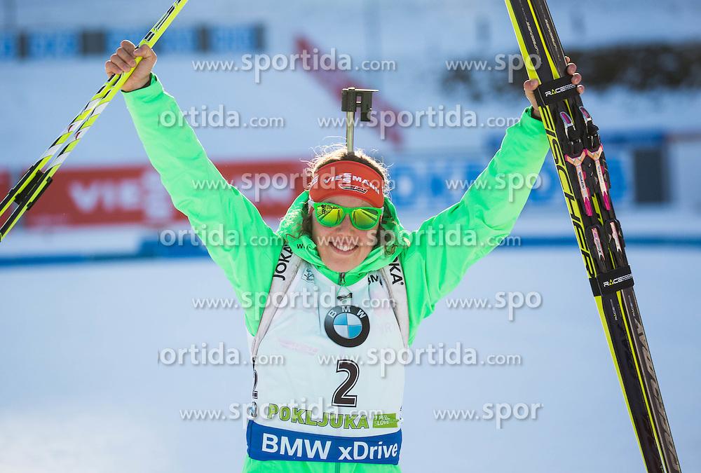 Laura Dahlmeier (GER) celebrates at medal ceremony after winning during Women 10 km Pursuit at day 3 of IBU Biathlon World Cup 2015/16 Pokljuka, on December 19, 2015 in Rudno polje, Pokljuka, Slovenia. Photo by Vid Ponikvar / Sportida