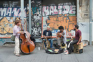Turkey. Istanbul. street musicians in istiklal avenue, main street of the modern city / Istamboul Avenue Istiklal