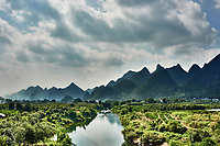 Yulong river between Guilin and Yangshuo in Guangxi province  China