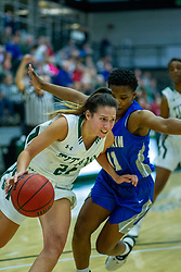 BLOOMINGTON, IL - January 04: Kendall Sosa defended by Briana Anthony during a college women's basketball game between the IWU Titans  and the Millikin Big Blue on January 04 2020 at Shirk Center in Bloomington, IL. (Photo by Alan Look)