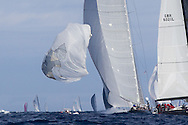 FRANCE, St Tropez. 5th October 2013. Voiles de St Tropez. Hanuman (K6) blows out thier spinnaker.