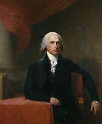 Portrait of United States President, James Madison.Oil on canvas painted by Gilbert Stuart (1755 –1828), who made additional copies after completion of the work.  Date c. 1805–07