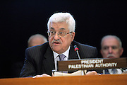 Mahmoud Abbas, President of the Palestinian National Authority, addresses a high-level event commemorating the 60th anniversary of the United Nations Relief and Works Agency for Palestine Refugees in the Near East (UNRWA).