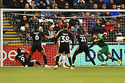Sam Baldock (9) of Reading thinks he has scored a goal but it is ruled out for an offside during the EFL Sky Bet Championship match between Swansea City and Reading at the Liberty Stadium, Swansea, Wales on 27 October 2018.