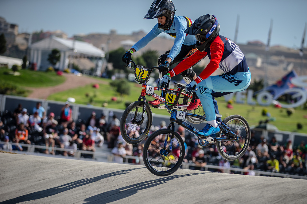14 Boys #72 (MELIS Jools) BEL and 14 Boys #84 (AGOSTI Victor) FRA at the 2018 UCI BMX World Championships in Baku, Azerbaijan.