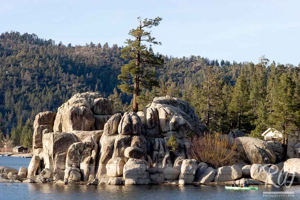 Kayakers Next to Rock Island, Big Bear Lake, California