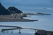 Runde, late January, with Runde bridge in the front | Runde en ettermiddag sent i Januar, med Rundebrua i forgrunnen.
