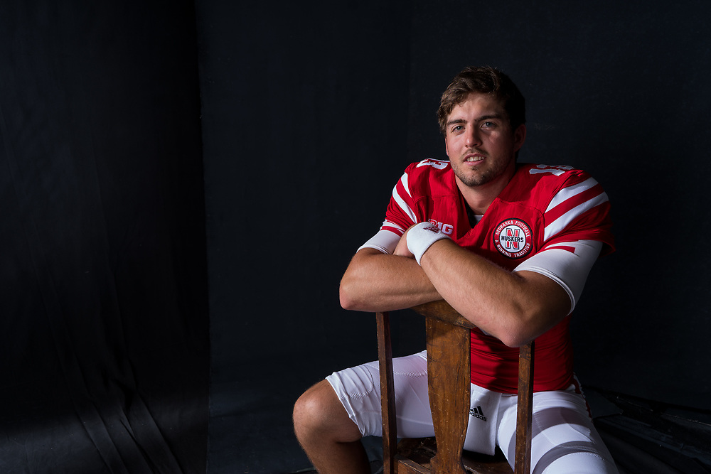 Tanner Lee #13 during a portrait session at Memorial Stadium in Lincoln, Neb. on June 6, 2017. Photo by Paul Bellinger, Hail Varsity