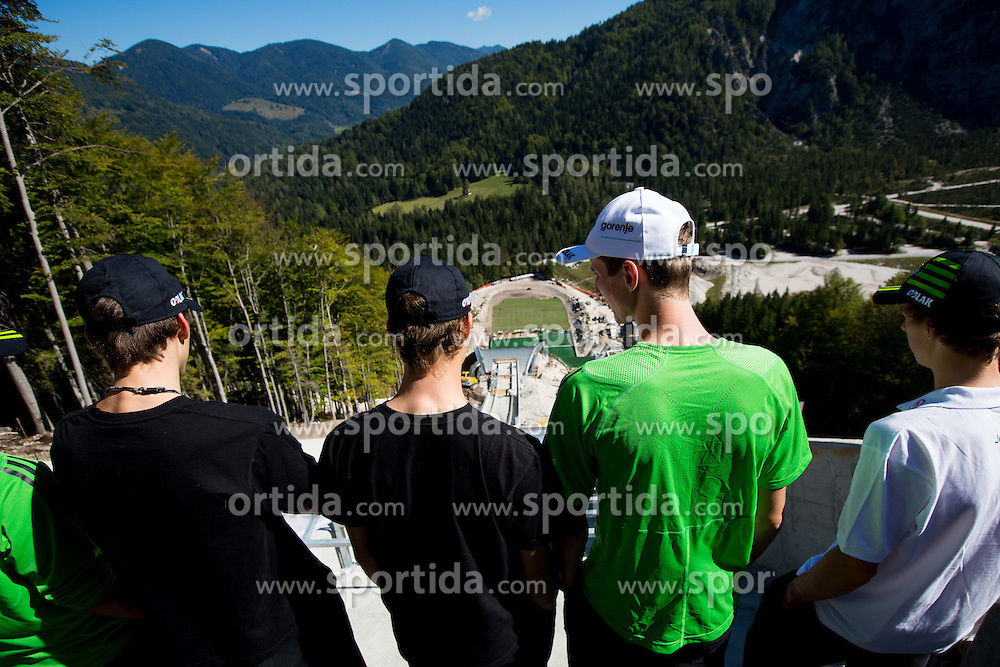 Ski jumpers at media day of Slovenian Ski jumping team during construction of two new ski jumping hills HS 135 and HS 105, on September 18, 2012 in Planica, Slovenia. (Photo By Vid Ponikvar / Sportida)