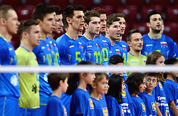 Team Slovenia prior to the volleyball match between National teams of Netherlands and Slovenia in Playoff of 2015 CEV Volleyball European Championship - Men, on October 13, 2015 in Arena Armeec, Sofia, Bulgaria. Photo by Ronald Hoogendoorn / Sportida