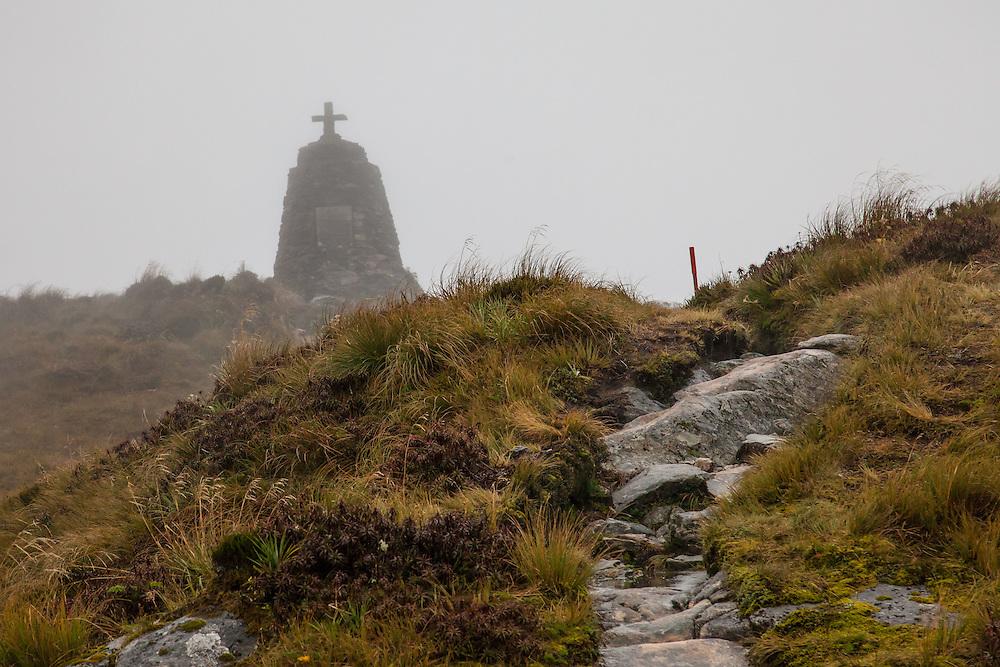 The Quinton McKinnon memorial just before the peak.