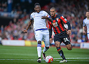 Chelsea Defender Baba Rahman (6) and Bournemouth Forward Lewis Grabban (28) during the Barclays Premier League match between Bournemouth and Chelsea at the Goldsands Stadium, Bournemouth, England on 23 April 2016. Photo by Adam Rivers.