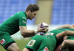 London Irish's Darren Allinson taps the ball on top of the London Irish pack - Photo mandatory by-line: Robbie Stephenson/JMP - Mobile: 07966 386802 - 05/04/2015 - SPORT - Rugby - Reading - Madejski Stadium - London Irish v Edinburgh Rugby - European Rugby Challenge Cup