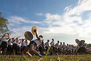 The Ohio University Marching Band performs for the Black Alumni Reunion as it held its welcome reception at Tailgreat Park on Thursday, September 15, 2016.