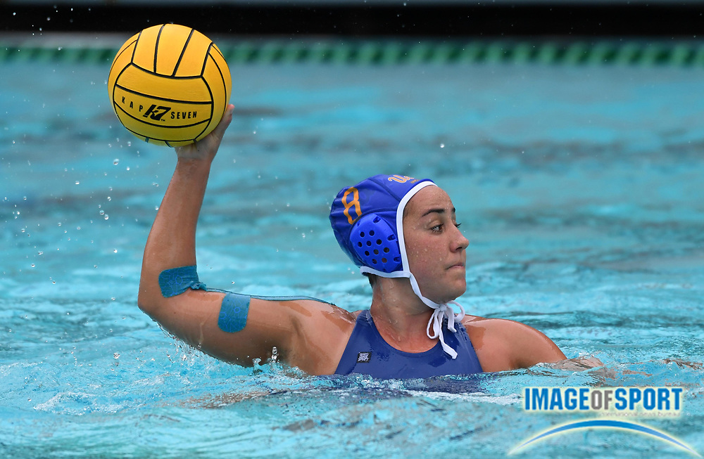 UCLA Bruins attacker Devin Grab (8) against the Pacific Tigers during an NCAA college women's water polo quarterfinal game in Los Angeles, Friday, May 11, 2018. UCLA defeated Pacific, 8-4.