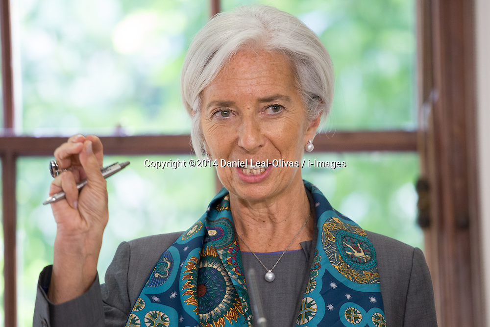 Image ©Licensed to i-Images Picture Agency. 06/06/2014. London, United Kingdom. Christine Lagarde speaks about global economy and UK economy recovery at HM Treasury. Picture by Daniel Leal-Olivas / i-Images