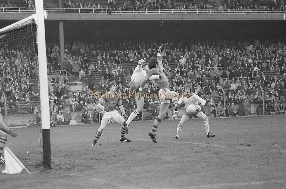 Kerry backs attempt to prevent Tyrone from getting a goal during the All Ireland Minor Gaelic Football Final, Tyrone v Kerry in Croke Park on the 28th September 1975.