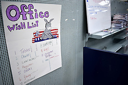 Office Wish List is posted inside the local campaign headquarters of the Dems, in Lancaster, PA, on Nov. 5th, 2016. The Keystone state is considered a mayor battleground in the 2016 US General Elections.