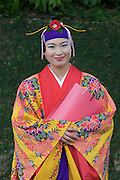 Shurijo? Castle. Girl in traditional dress.