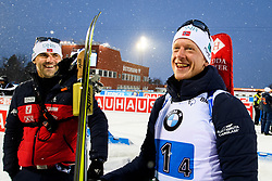 March 16, 2019 - –Stersund, Sweden - 190316 Siegfried Mazet coach of Norway and Johannes Thingnes Bø of Norway after the Men's 4x7,5 km Relay during the IBU World Championships Biathlon on March 16, 2019 in Östersund..Photo: Petter Arvidson / BILDBYRÃ…N / kod PA / 92269 (Credit Image: © Petter Arvidson/Bildbyran via ZUMA Press)